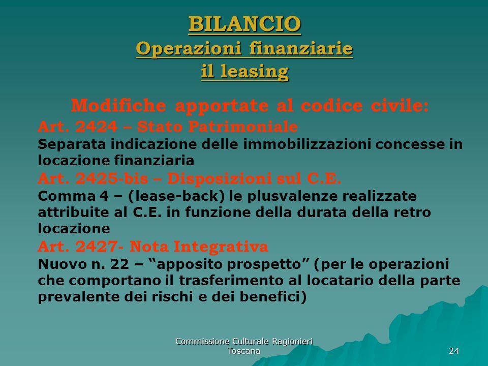 Commissione Culturale Ragionieri Toscana 24 BILANCIO Operazioni finanziarie il leasing Modifiche apportate al codice civile: Art. 2424 – Stato Patrimo
