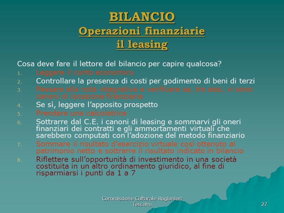 Commissione Culturale Ragionieri Toscana 27 BILANCIO Operazioni finanziarie il leasing Cosa deve fare il lettore del bilancio per capire qualcosa? 1.