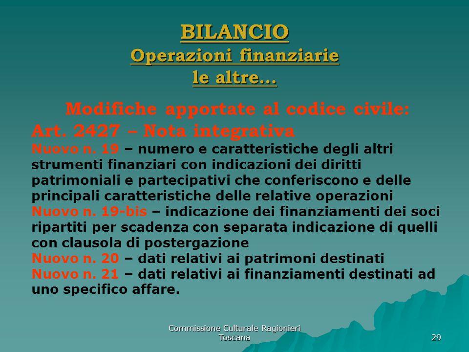 Commissione Culturale Ragionieri Toscana 29 BILANCIO Operazioni finanziarie le altre… Modifiche apportate al codice civile: Art. 2427 – Nota integrati