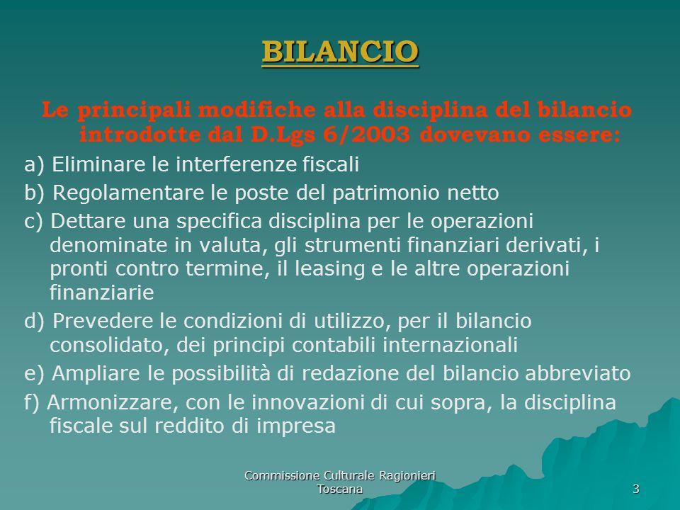 Commissione Culturale Ragionieri Toscana 3 BILANCIO Le principali modifiche alla disciplina del bilancio introdotte dal D.Lgs 6/2003 dovevano essere: