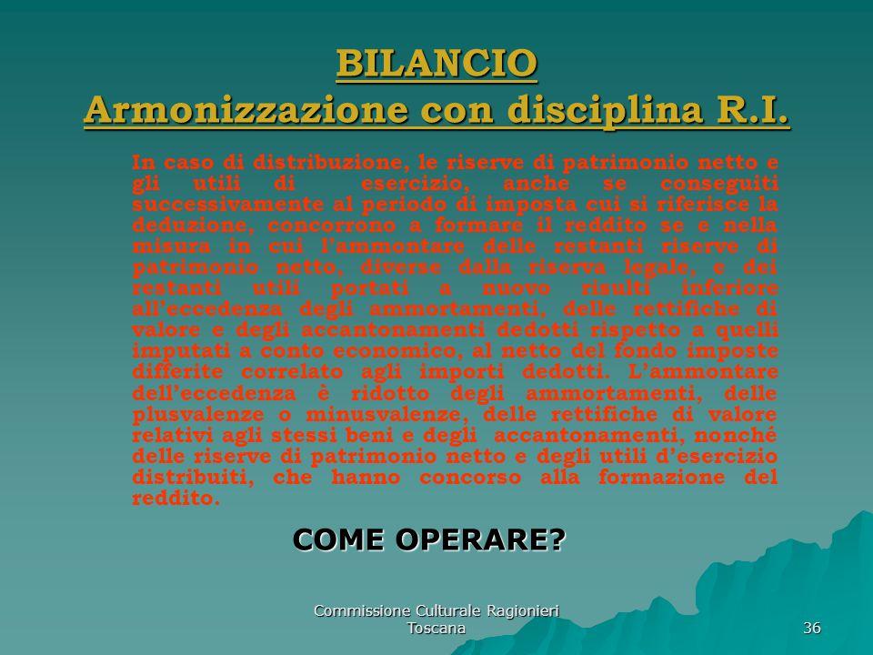 Commissione Culturale Ragionieri Toscana 36 BILANCIO Armonizzazione con disciplina R.I. In caso di distribuzione, le riserve di patrimonio netto e gli