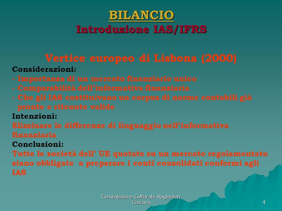 Commissione Culturale Ragionieri Toscana 5 BILANCIO Introduzione IAS/IFRS fair value (UE 2001/65CE) - Abbandono del criterio del costo per gli strumenti finanziari fair value (Italia 394/2003) - Non si prescrive né si permette il criterio di valutazione - È stata recepita la parte che riguarda linformativa