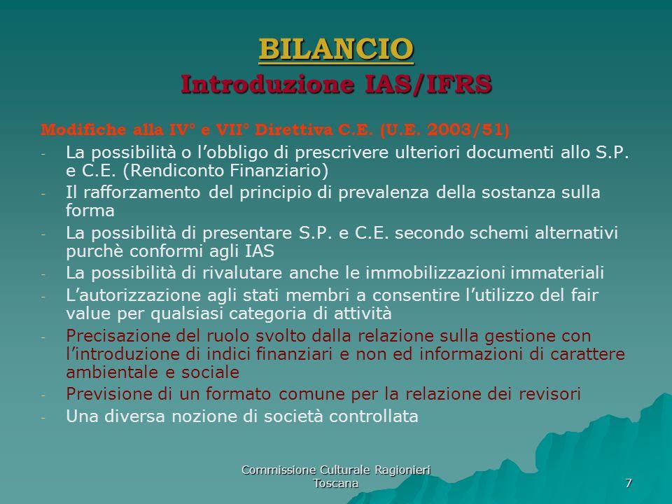 Commissione Culturale Ragionieri Toscana 7 BILANCIO Introduzione IAS/IFRS Modifiche alla IV° e VII° Direttiva C.E. (U.E. 2003/51) - - La possibilità o