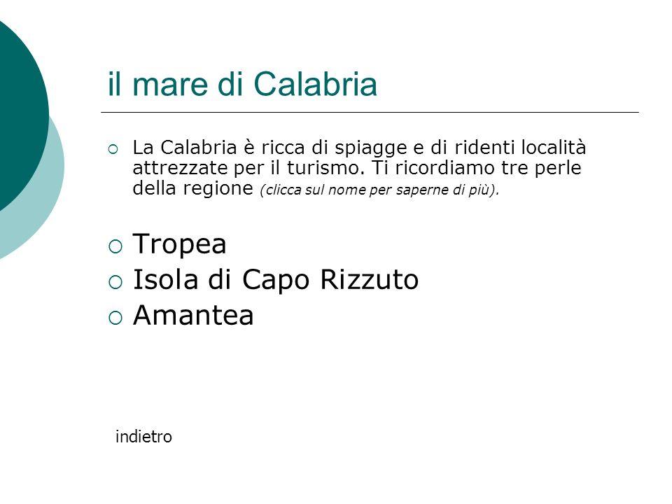 il mare di Calabria La Calabria è ricca di spiagge e di ridenti località attrezzate per il turismo. Ti ricordiamo tre perle della regione (clicca sul