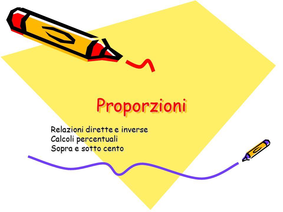 ProporzioniProporzioni Relazioni dirette e inverse Calcoli percentuali Sopra e sotto cento