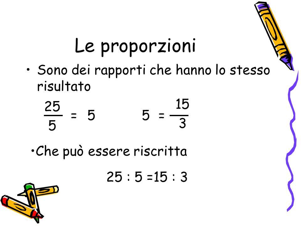 Le proporzioni Sono dei rapporti che hanno lo stesso risultato = 15 3 25 5 = 55 Che può essere riscritta 25 : 5 =15 : 3