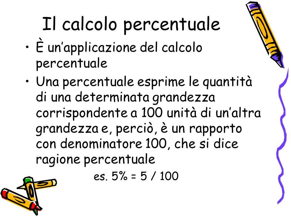 Il calcolo percentuale È unapplicazione del calcolo percentuale Una percentuale esprime le quantità di una determinata grandezza corrispondente a 100