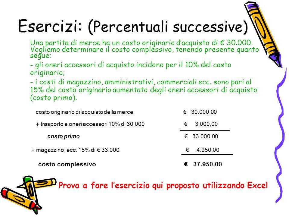 Esercizi: ( Percentuali successive) Una partita di merce ha un costo originario dacquisto di 30.000. Vogliamo determinare il costo complessivo, tenend