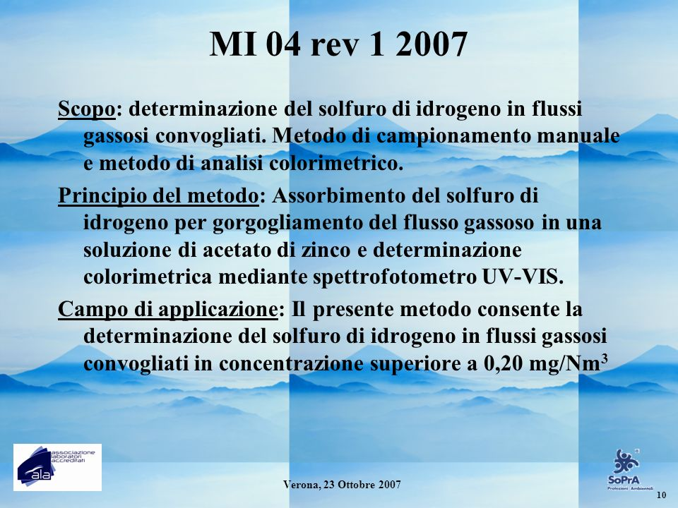 MI 04 rev 1 2007 Scopo: determinazione del solfuro di idrogeno in flussi gassosi convogliati. Metodo di campionamento manuale e metodo di analisi colo