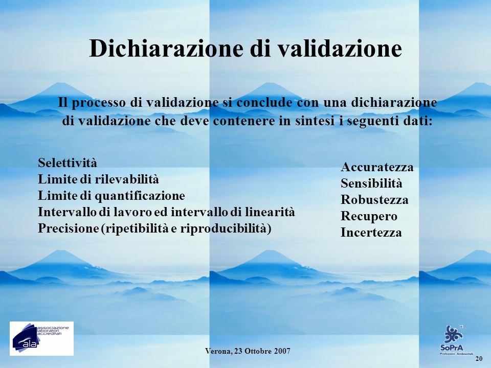Dichiarazione di validazione Il processo di validazione si conclude con una dichiarazione di validazione che deve contenere in sintesi i seguenti dati