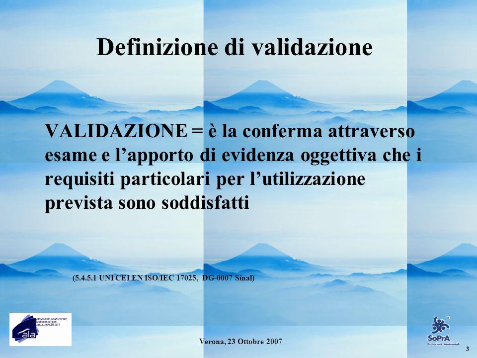 Definizione di validazione VALIDAZIONE = è la conferma attraverso esame e lapporto di evidenza oggettiva che i requisiti particolari per lutilizzazion