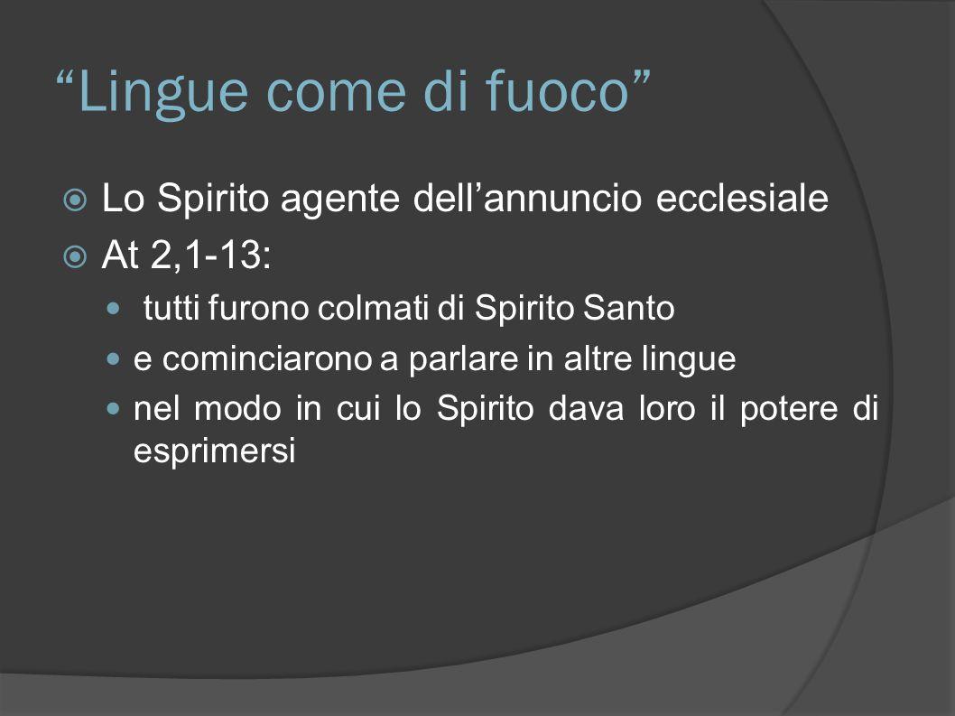 Lingue come di fuoco Lo Spirito agente dellannuncio ecclesiale At 2,1-13: tutti furono colmati di Spirito Santo e cominciarono a parlare in altre ling