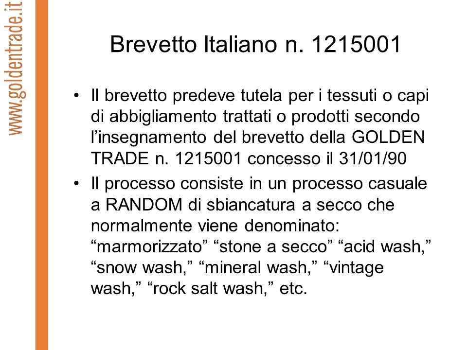 Brevetto Italiano n. 1215001 Il brevetto predeve tutela per i tessuti o capi di abbigliamento trattati o prodotti secondo linsegnamento del brevetto d