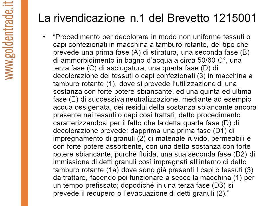 La rivendicazione n.1 del Brevetto 1215001 Procedimento per decolorare in modo non uniforme tessuti o capi confezionati in macchina a tamburo rotante,