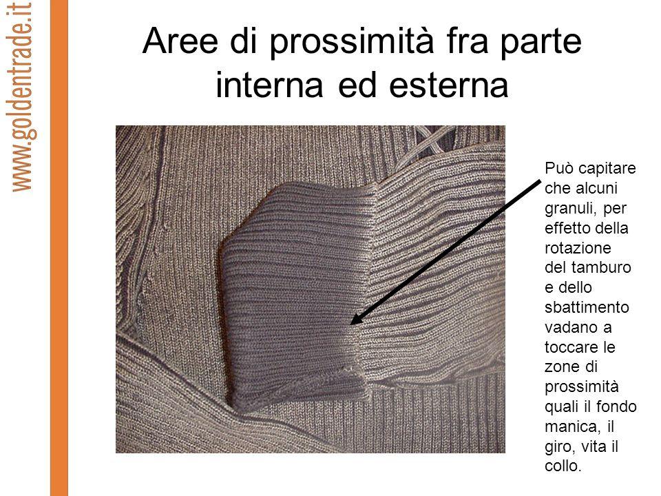 Aree di prossimità fra parte interna ed esterna Può capitare che alcuni granuli, per effetto della rotazione del tamburo e dello sbattimento vadano a