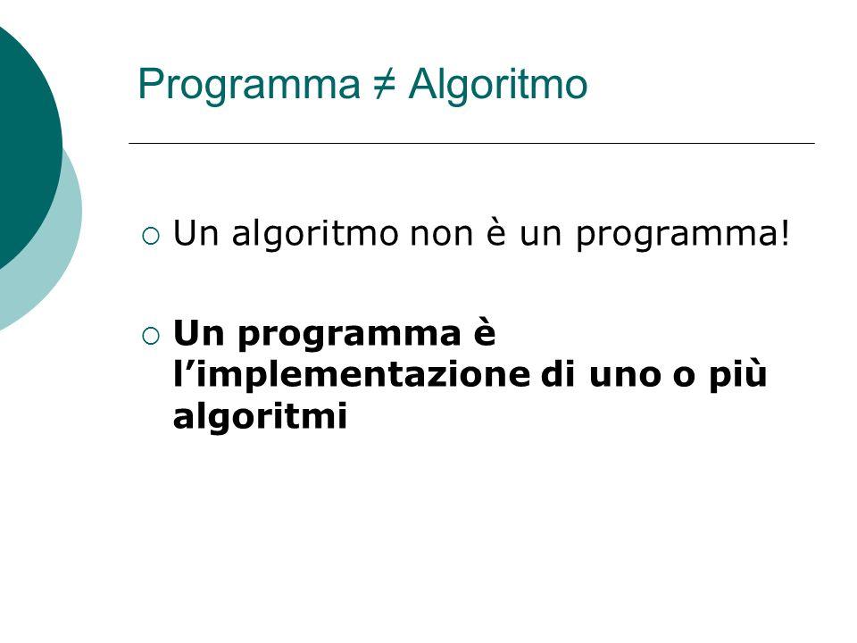 Programma Algoritmo Un algoritmo non è un programma! Un programma è limplementazione di uno o più algoritmi