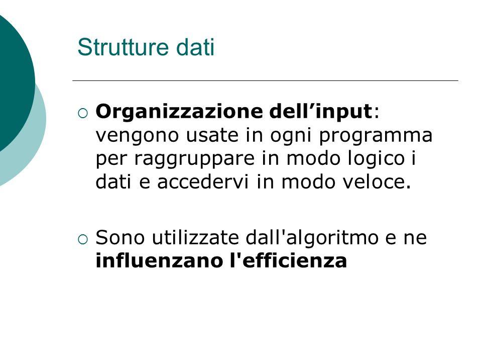 Strutture dati Organizzazione dellinput: vengono usate in ogni programma per raggruppare in modo logico i dati e accedervi in modo veloce. Sono utiliz