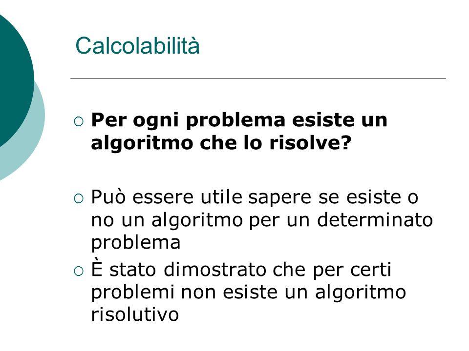 Calcolabilità Per ogni problema esiste un algoritmo che lo risolve? Può essere utile sapere se esiste o no un algoritmo per un determinato problema È