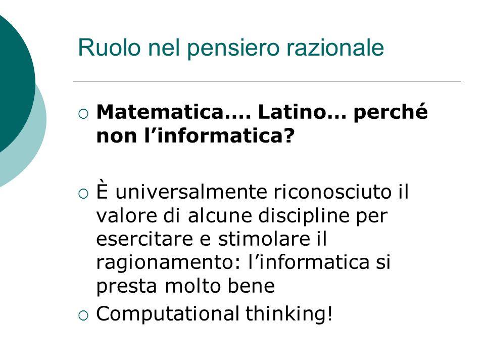 Ruolo nel pensiero razionale Matematica…. Latino… perché non linformatica? È universalmente riconosciuto il valore di alcune discipline per esercitare