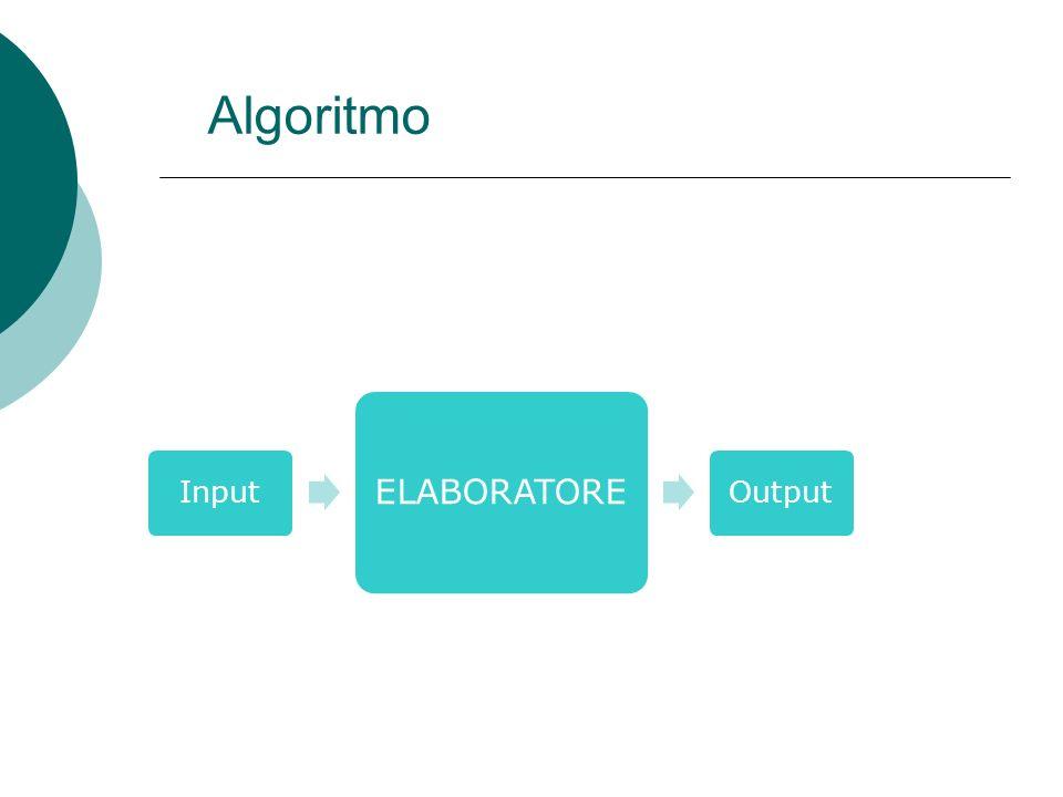 Algoritmo Input ELABORATORE Output