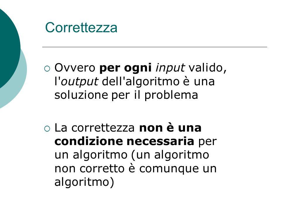 Correttezza Ovvero per ogni input valido, l'output dell'algoritmo è una soluzione per il problema La correttezza non è una condizione necessaria per u