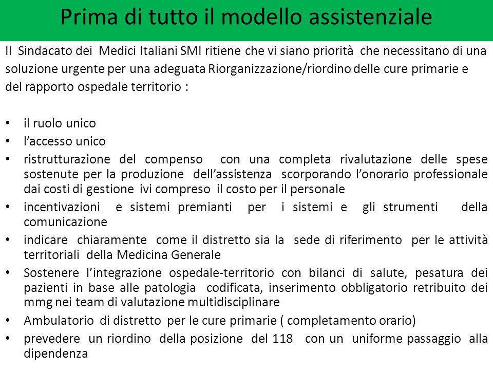Il Sindacato dei Medici Italiani SMI ritiene che vi siano priorità che necessitano di una soluzione urgente per una adeguata Riorganizzazione/riordino