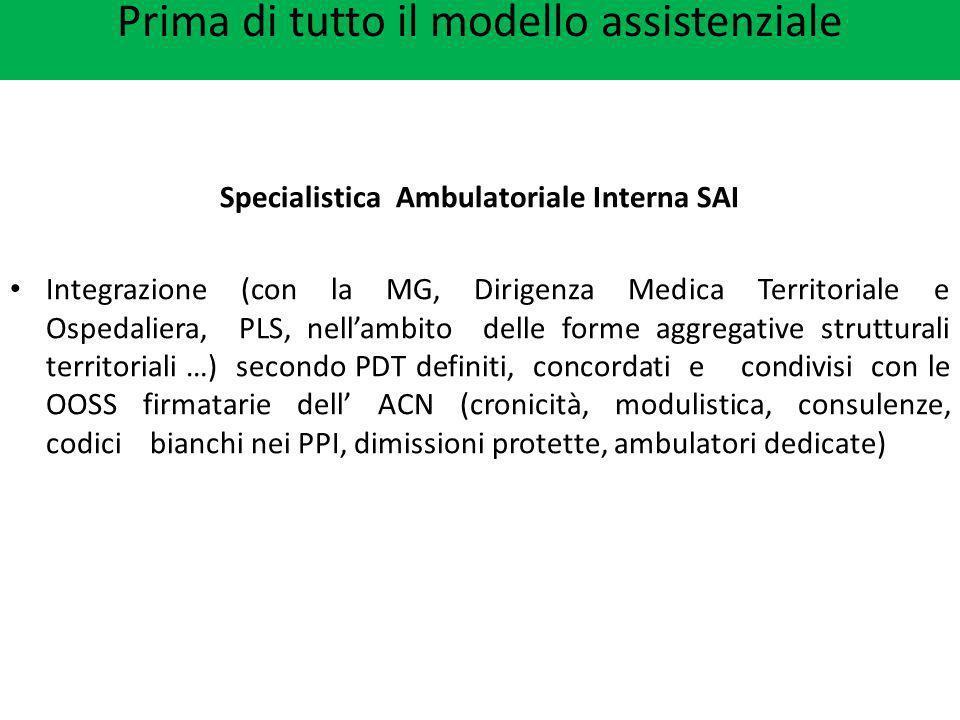 Prima di tutto il modello assistenziale Specialistica Ambulatoriale Interna SAI Integrazione (con la MG, Dirigenza Medica Territoriale e Ospedaliera,