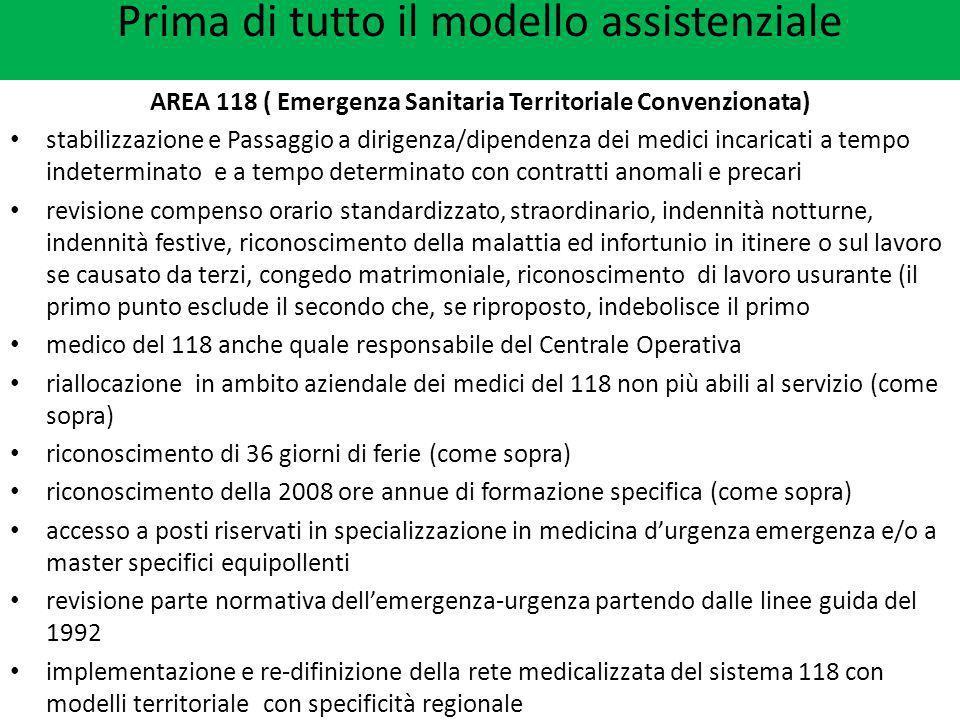 Prima di tutto il modello assistenziale AREA 118 ( Emergenza Sanitaria Territoriale Convenzionata) stabilizzazione e Passaggio a dirigenza/dipendenza
