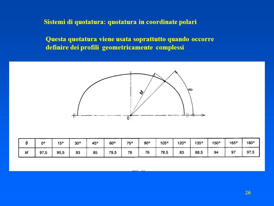25 Sistemi di quotatura: quotatura in coordinate Le quote vengono ragruppate in apposite tabelle. Ciò può essere conveniente sia per lesecuzione sia p