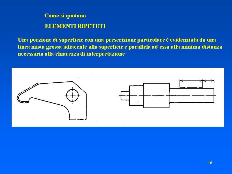 45 Come si quotano ELEMENTI RIPETUTI Qualora elementi diversi regolarmente o irregolarmente disposti si trovino sullo stesso disegno, si possono usare