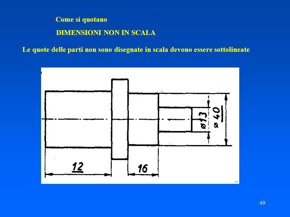 48 Come si quotano PARTI SIMMETRICHE Nel caso di oggetti di grandi dimensioni, simmetrici rispetto ad un asse perpendicolare alle linee di misura, le linee di misura stesse possono essere disposte come di seguito riportato
