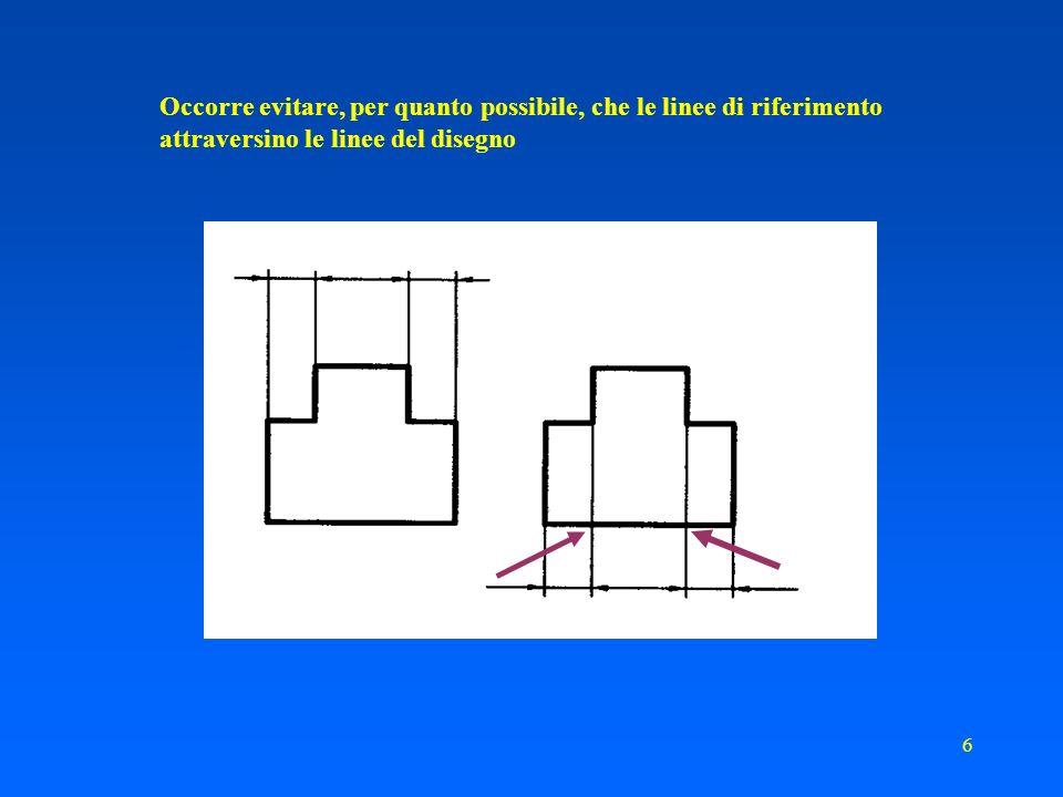 46 Come si quotano ELEMENTI RIPETUTI Una porzione di superficie con una prescrizione particolare è evidenziata da una linea mista grossa adiacente alla superficie e parallela ad essa alla minima distanza necessaria alla chiarezza di interpretazione