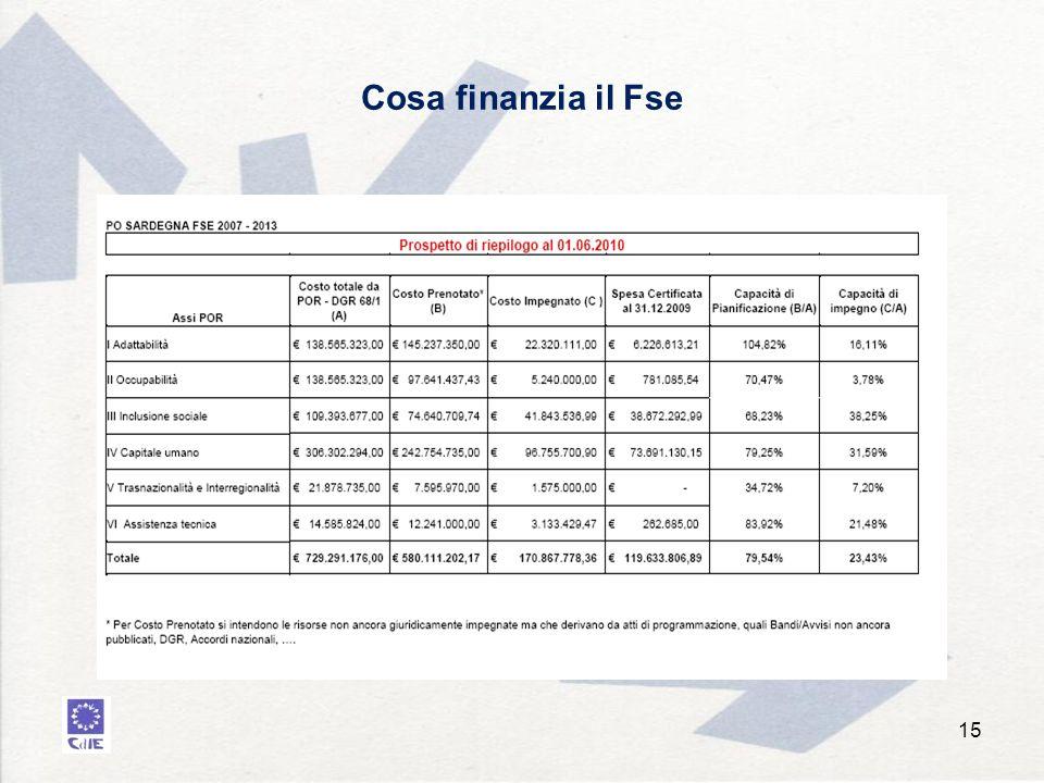Cosa finanzia il Fse 15