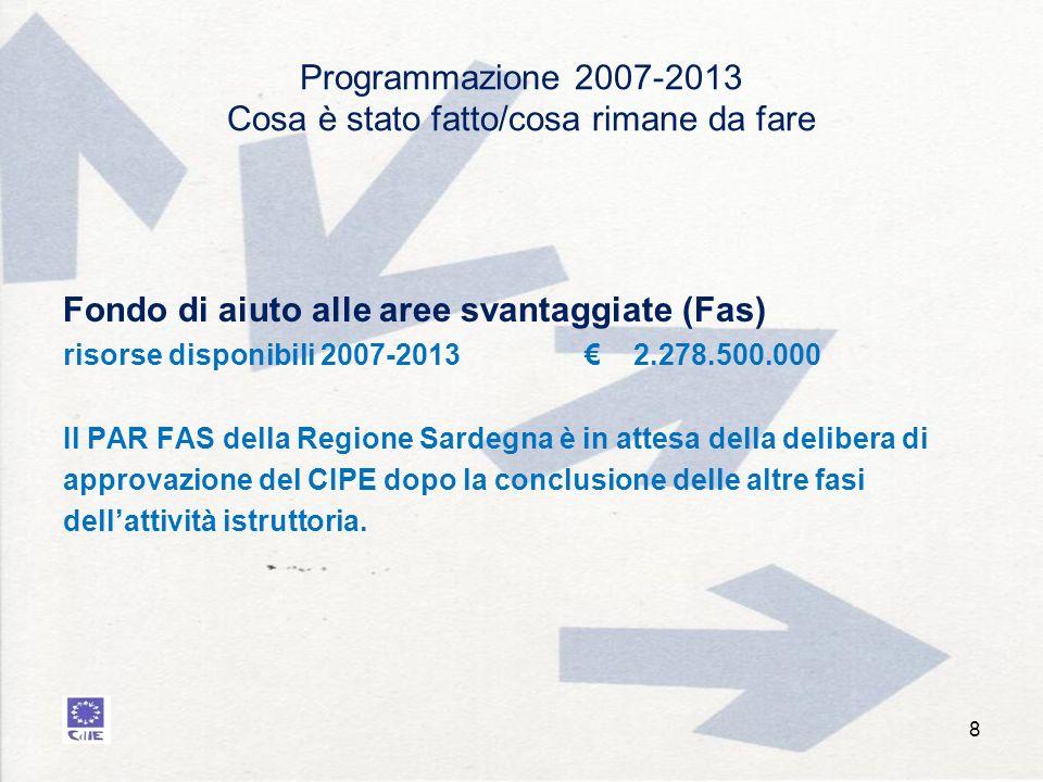 Programmazione 2007-2013 Cosa è stato fatto/cosa rimane da fare Fondo di aiuto alle aree svantaggiate (Fas) risorse disponibili 2007-2013 2.278.500.000 Il PAR FAS della Regione Sardegna è in attesa della delibera di approvazione del CIPE dopo la conclusione delle altre fasi dellattività istruttoria.