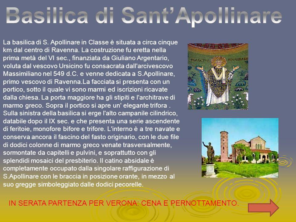 La basilica di S. Apollinare in Classe è situata a circa cinque km dal centro di Ravenna. La costruzione fu eretta nella prima metà del VI sec., finan