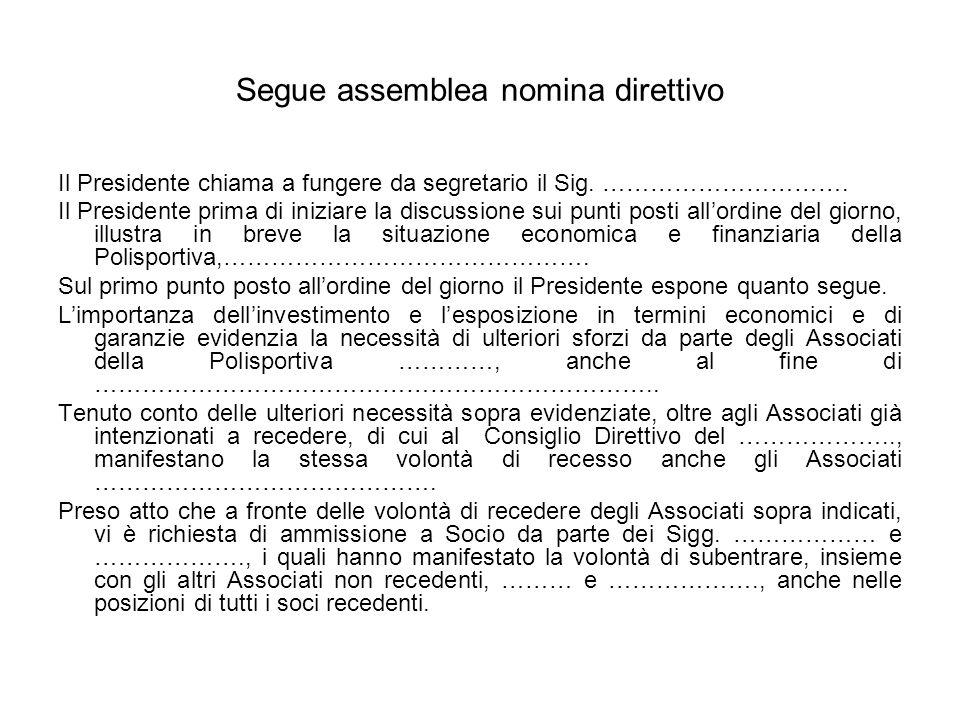 Segue assemblea nomina direttivo Il Presidente chiama a fungere da segretario il Sig. …………………………. Il Presidente prima di iniziare la discussione sui p