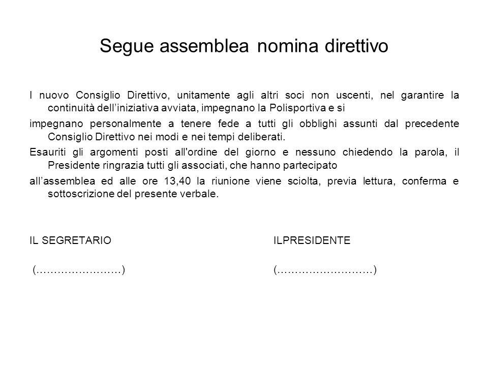 Segue assemblea nomina direttivo I nuovo Consiglio Direttivo, unitamente agli altri soci non uscenti, nel garantire la continuità delliniziativa avvia