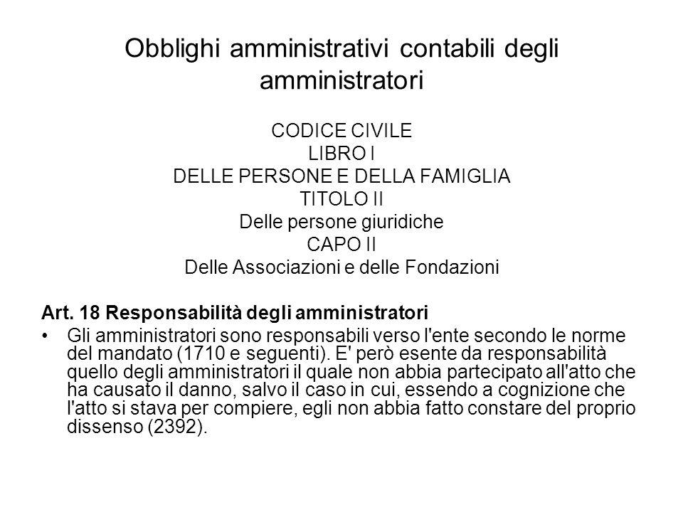 Obblighi amministrativi contabili degli amministratori CODICE CIVILE LIBRO I DELLE PERSONE E DELLA FAMIGLIA TITOLO II Delle persone giuridiche CAPO II