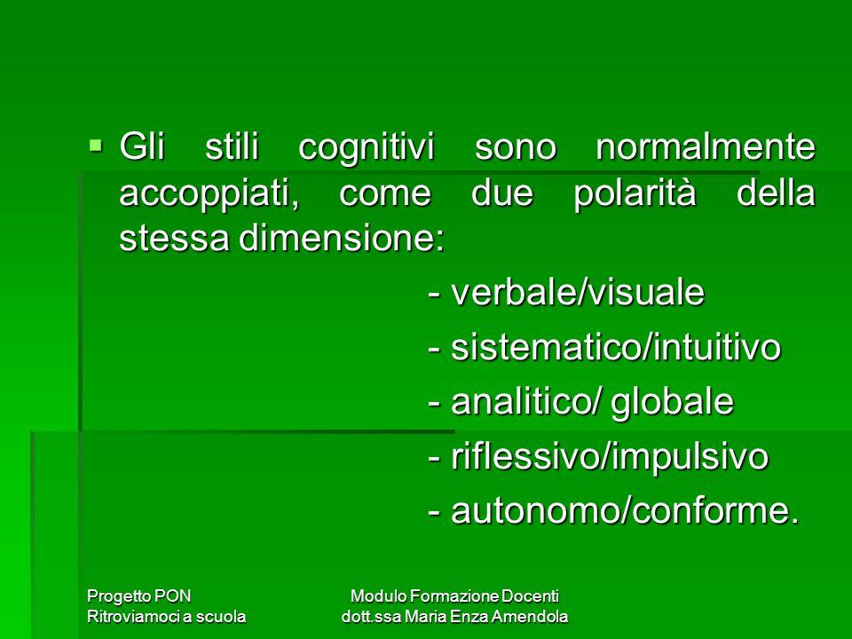 Progetto PON Ritroviamoci a scuola Modulo Formazione Docenti dott.ssa Maria Enza Amendola Gli stili cognitivi sono normalmente accoppiati, come due polarità della stessa dimensione: Gli stili cognitivi sono normalmente accoppiati, come due polarità della stessa dimensione: - verbale/visuale - verbale/visuale - sistematico/intuitivo - sistematico/intuitivo - analitico/ globale - analitico/ globale - riflessivo/impulsivo - riflessivo/impulsivo - autonomo/conforme.