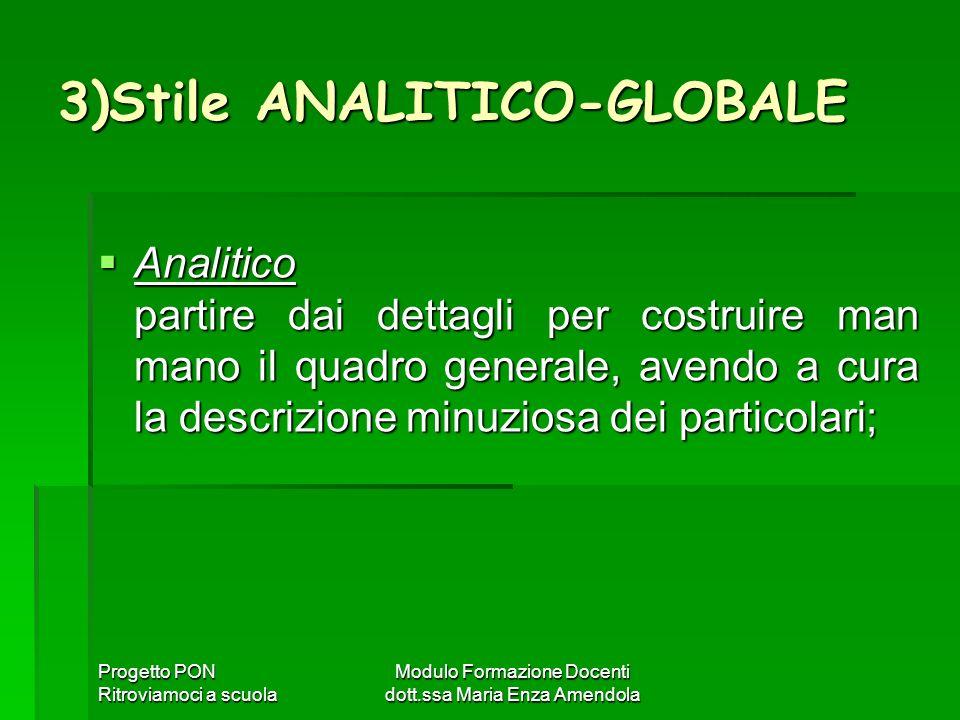 Progetto PON Ritroviamoci a scuola Modulo Formazione Docenti dott.ssa Maria Enza Amendola 3)Stile ANALITICO-GLOBALE Analitico partire dai dettagli per