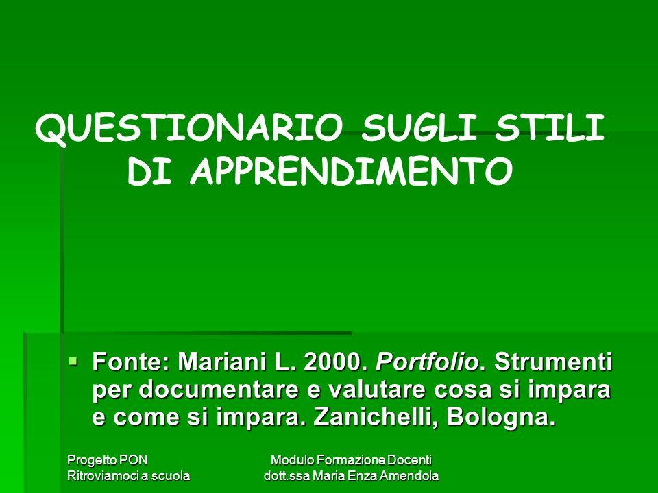 Progetto PON Ritroviamoci a scuola Modulo Formazione Docenti dott.ssa Maria Enza Amendola Fonte: Mariani L. 2000. Portfolio. Strumenti per documentare