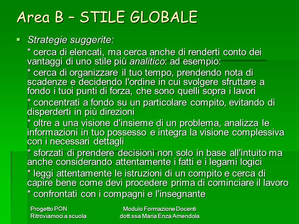 Progetto PON Ritroviamoci a scuola Modulo Formazione Docenti dott.ssa Maria Enza Amendola Area B – STILE GLOBALE Strategie suggerite: Strategie sugger