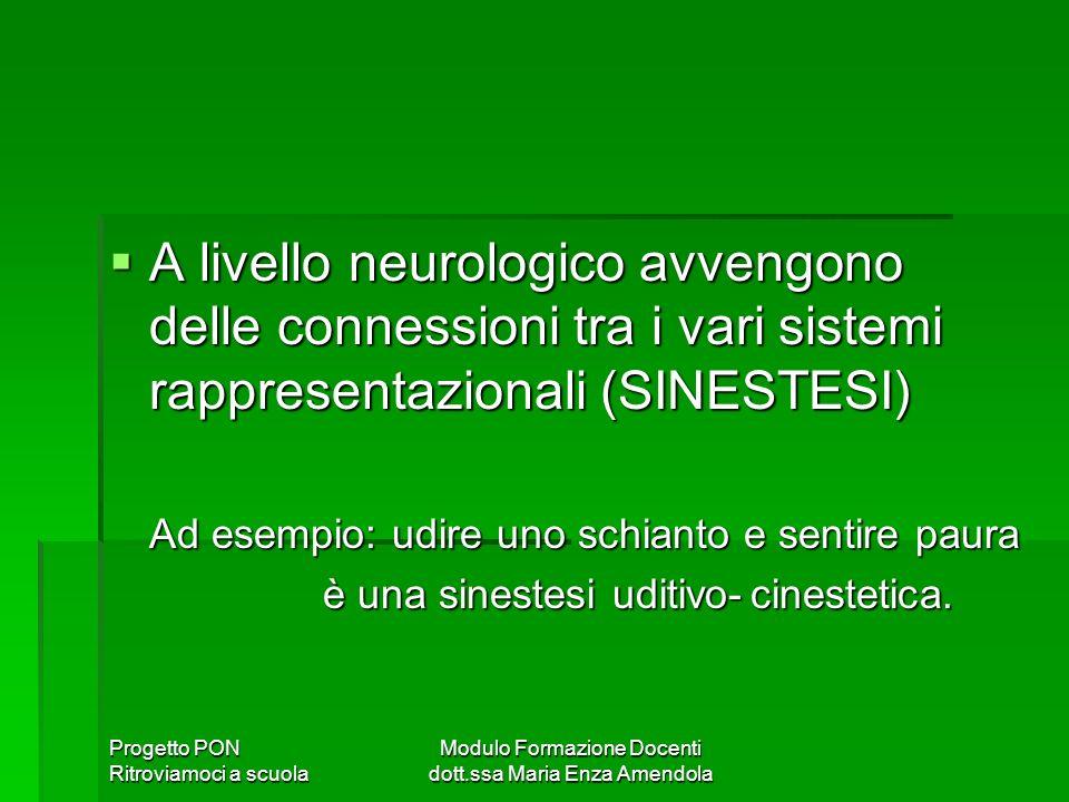 Progetto PON Ritroviamoci a scuola Modulo Formazione Docenti dott.ssa Maria Enza Amendola A livello neurologico avvengono delle connessioni tra i vari sistemi rappresentazionali (SINESTESI) A livello neurologico avvengono delle connessioni tra i vari sistemi rappresentazionali (SINESTESI) Ad esempio: udire uno schianto e sentire paura è una sinestesi uditivo-cinestetica.