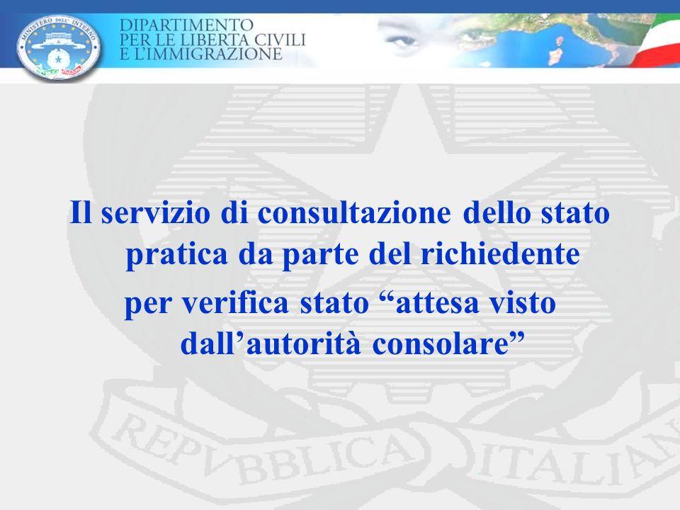 Il servizio di consultazione dello stato pratica da parte del richiedente per verifica stato attesa visto dallautorità consolare