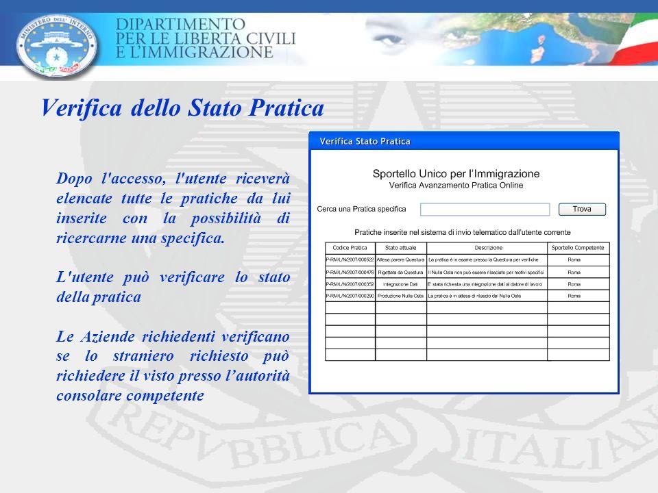 Verifica dello Stato Pratica Dopo l accesso, l utente riceverà elencate tutte le pratiche da lui inserite con la possibilità di ricercarne una specifica.