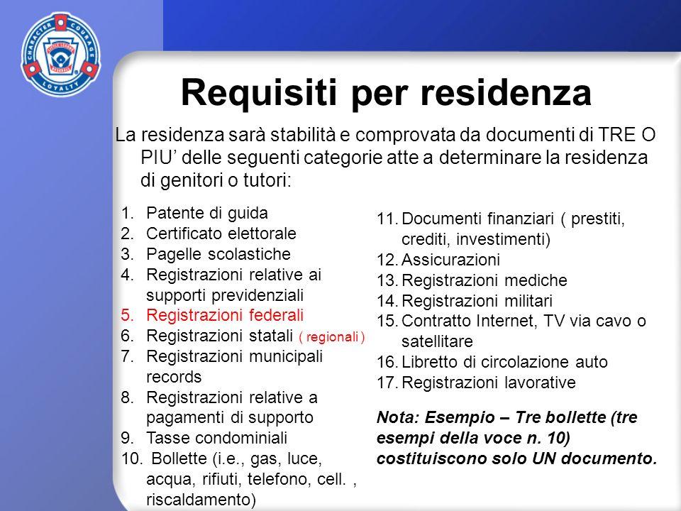 Requisiti per residenza La residenza sarà stabilità e comprovata da documenti di TRE O PIU delle seguenti categorie atte a determinare la residenza di genitori o tutori: 1.Patente di guida 2.Certificato elettorale 3.Pagelle scolastiche 4.Registrazioni relative ai supporti previdenziali 5.Registrazioni federali 6.Registrazioni statali ( regionali ) 7.Registrazioni municipali records 8.Registrazioni relative a pagamenti di supporto 9.Tasse condominiali 10.