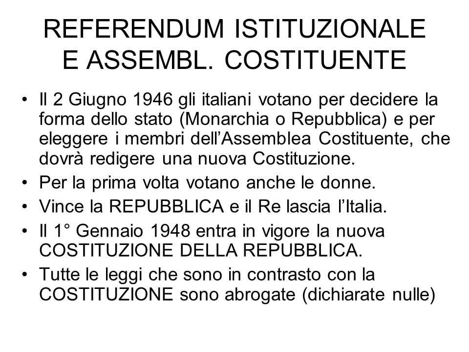 REFERENDUM ISTITUZIONALE E ASSEMBL.