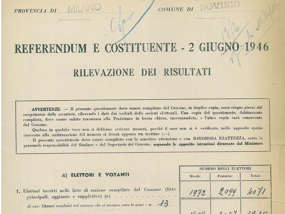 REFERENDUM ISTITUZIONALE E ASSEMBL. COSTITUENTE Il 2 Giugno 1946 gli italiani votano per decidere la forma dello stato (Monarchia o Repubblica) e per