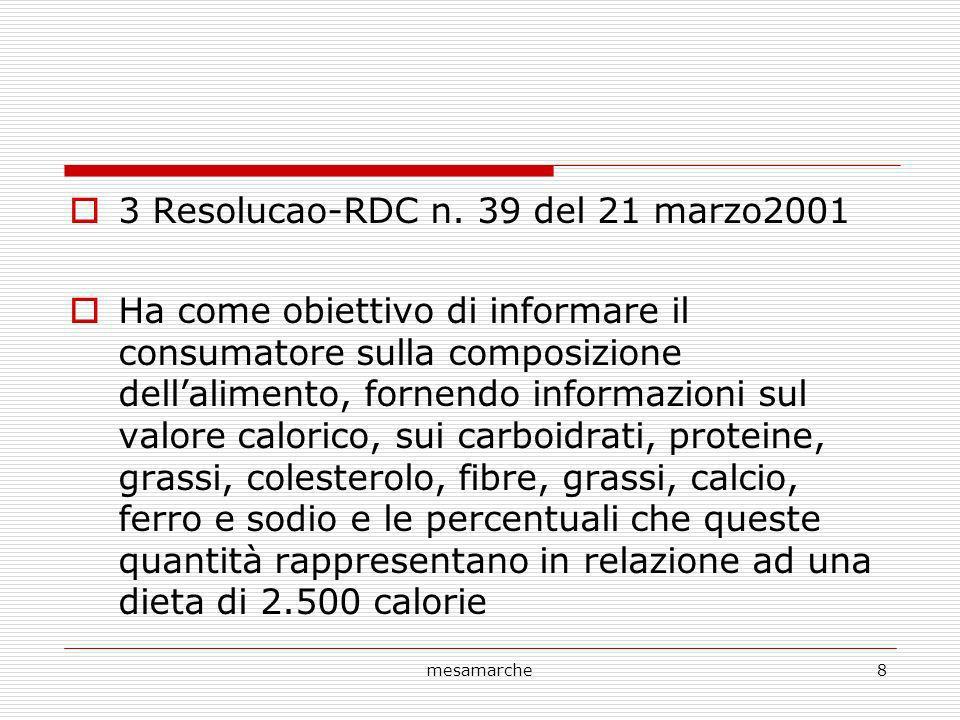 mesamarche8 3 Resolucao-RDC n. 39 del 21 marzo2001 Ha come obiettivo di informare il consumatore sulla composizione dellalimento, fornendo informazion