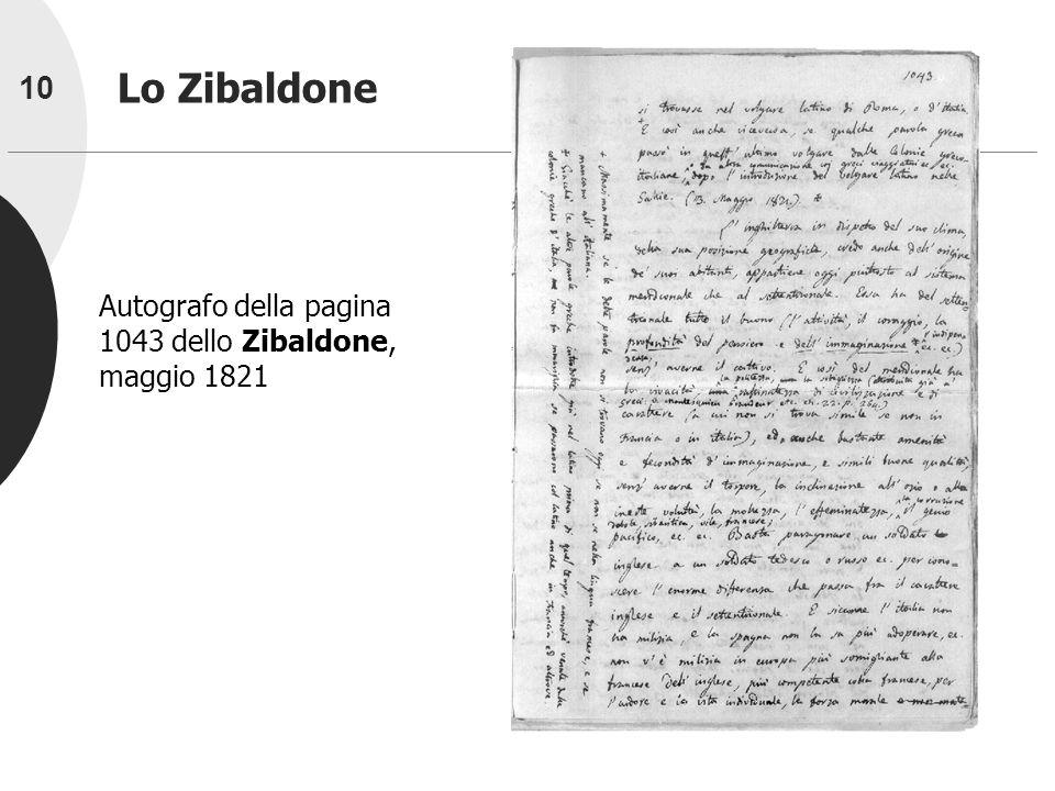 10 Lo Zibaldone Autografo della pagina 1043 dello Zibaldone, maggio 1821